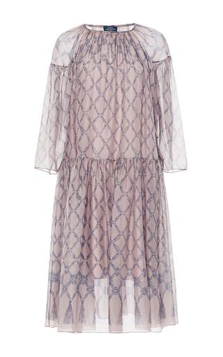 Diamond Print Pleated Silk Long Sleeve Dress by ALENA AKHMADULLINA for Preorder on Moda Operandi
