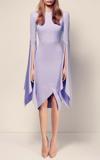 The Cara Satin Crepe Long Sleeve Split Lady Dress by ALEX PERRY for Preorder on Moda Operandi