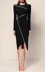The Aislinn Satin Crepe Zip Long Sleeve Lady Dress by ALEX PERRY for Preorder on Moda Operandi