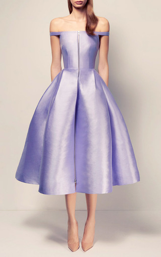 The Alicja Silk Strapless Midi With Shoulder Detail Dress by ALEX PERRY for Preorder on Moda Operandi