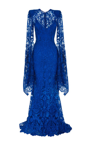 Medium alex perry royal blue the niamh lace long sleeve gown with slip 2