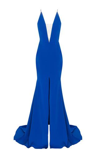 Medium alex perry royal blue the lena satin crepe bikini crinoline gown