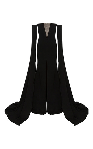 Medium alex perry black the alex satin crepe strapless crinoline long sleeve gown