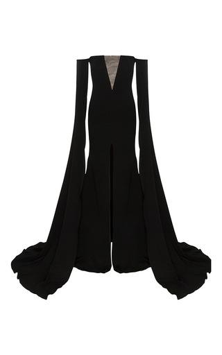Medium alex perry black the alex satin crepe strapless crinoline long sleeve gown