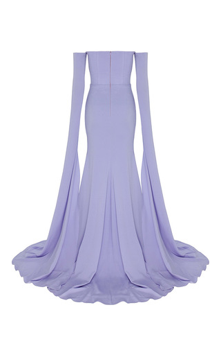 The Alex Satin Crepe Strapless Crinoline Long Sleeve Gown by ALEX PERRY for Preorder on Moda Operandi