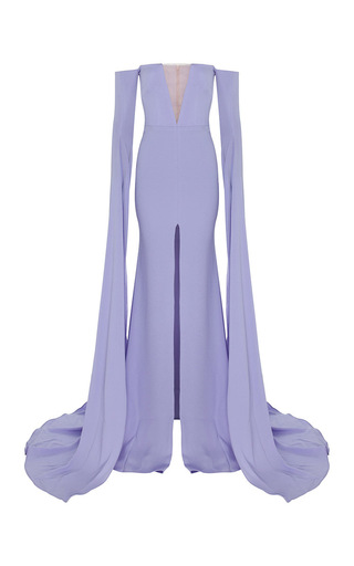 Medium alex perry purple the alex satin crepe strapless crinoline long sleeve gown 2