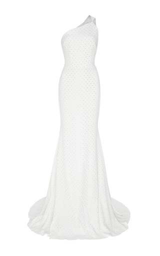 The Kaylee Crystal One Shoulder Gown by ALEX PERRY for Preorder on Moda Operandi