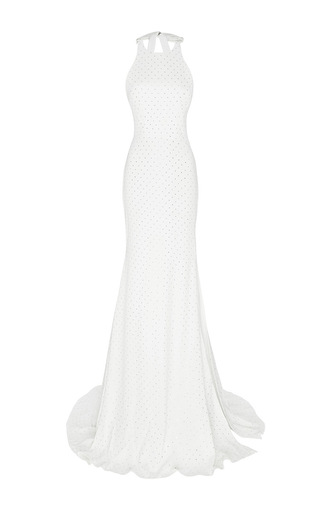 Medium alex perry white the lucia crystal bow open back gown