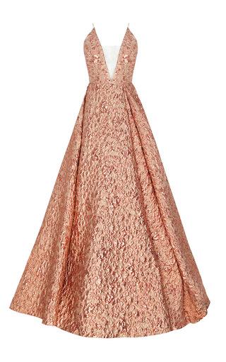 Medium alex perry pink the amelia lurex floral bikini crioline gown