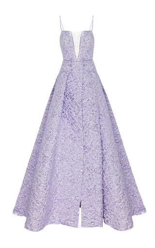 Medium alex perry purple the keeva lurex floral strapless crinoline gown