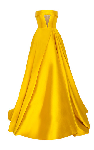 Medium alex perry yellow the elsa silk strapless crinoline cuff gown