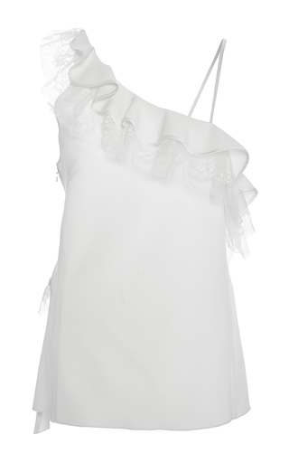 Stretch Silk Crepe One Shoulder Top by ADAM LIPPES for Preorder on Moda Operandi