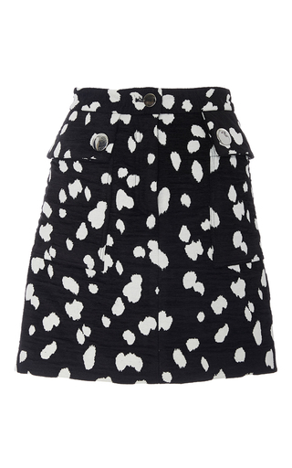 Medium adam lippes print dalmation cotton chenille jacquard mini skirt