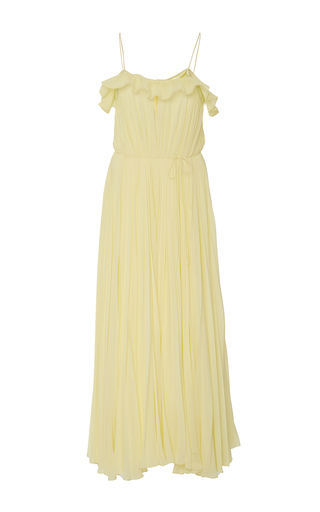 Medium adam lippes yellow silk starburst dress