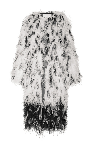 Medium adam lippes white ostrich feather embroidered dalmation print coat