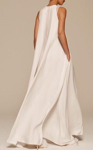 Silk Crepe And Chiffon Sleeveless Gown by ADAM LIPPES for Preorder on Moda Operandi