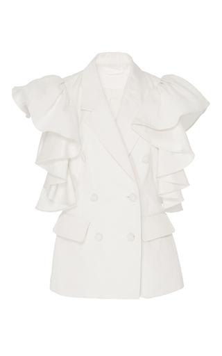 Medium co ivory ruffled sleeveless jacket