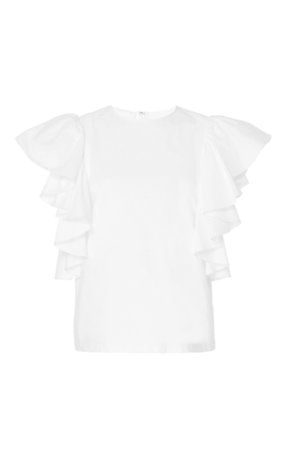 Medium co white ruffled flutter sleeve top