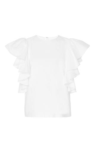 Medium co white ruffled flutter sleeve top
