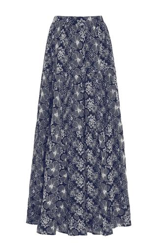 Medium co multi high waist embroidered maxi skirt