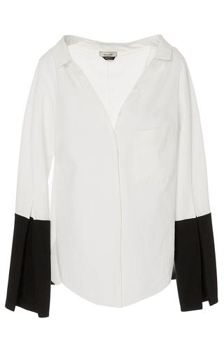 Bessette Ecru Collar Off The Shoulder Shirt by HELLESSY for Preorder on Moda Operandi