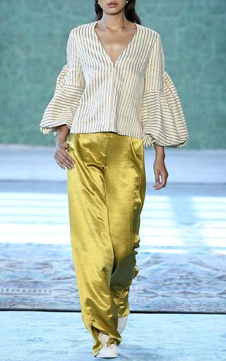 Ravello Sand V Neck Blouse by HELLESSY for Preorder on Moda Operandi