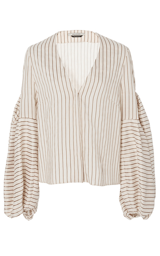 Medium hellessy stripe ravello sand v neck blouse