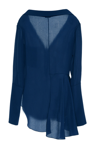 Bessette Ii Lapis Collar Off The Shoulder Shirt by HELLESSY for Preorder on Moda Operandi