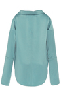 Bessette Aqua Collar Off The Shoulder Shirt by HELLESSY for Preorder on Moda Operandi