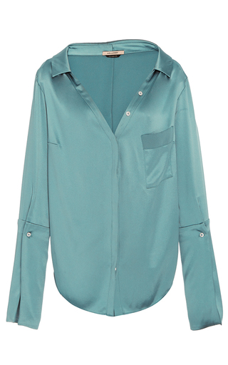 Medium hellessy blue bessette aqua collar off the shoulder shirt