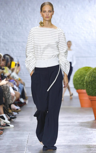 Sculpted Boatneck Striped Top by TIBI for Preorder on Moda Operandi