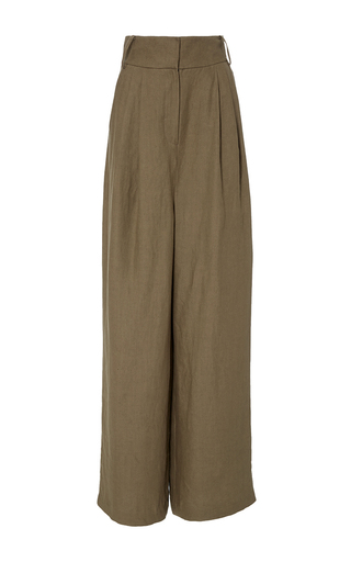 Medium tibi khaki hessian wide leg pants