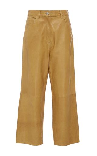 Medium tibi yellow cropped leather jeans