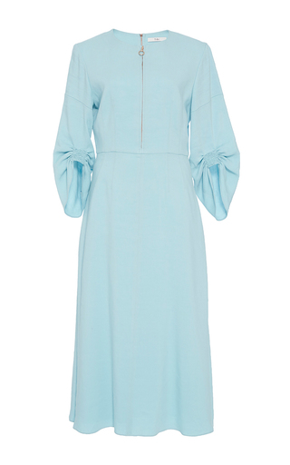 Medium tibi blue marta full sleeve midi dress
