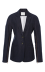 Navy Drop Shoulder Blazer by TIBI for Preorder on Moda Operandi
