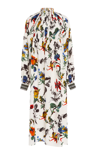 Medium tibi floral edwardian ivory printed midi dress