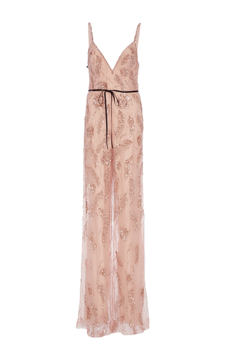 Medium monique lhuillier pink floral embroidered jumpsuit