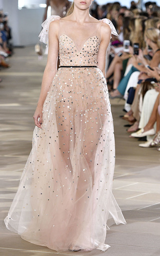 Heart Embroidered V Neck Gown  by MONIQUE LHUILLIER for Preorder on Moda Operandi