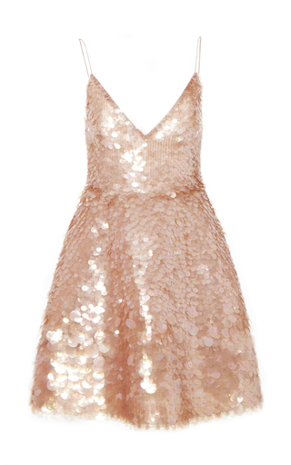 Medium monique lhuillier pink embroidered degrade paillette cocktail dress