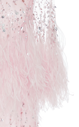 Embroidered Gown With Cascading Ostrich Feathers by MONIQUE LHUILLIER for Preorder on Moda Operandi