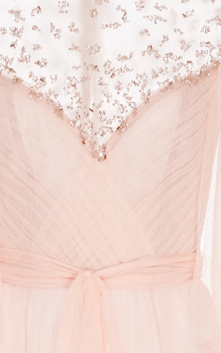 Embroidered Draped Tulle Gown  by MONIQUE LHUILLIER for Preorder on Moda Operandi