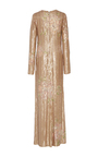 Embroidered V Neck Long Sleeve Sheath Gown  by MONIQUE LHUILLIER for Preorder on Moda Operandi