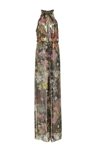 Medium monique lhuillier multi floral metallic lame jumpsuit
