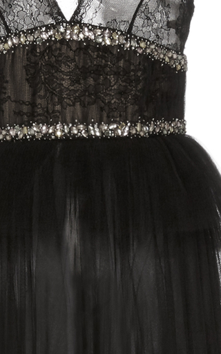 Peplum Gown With Layered Tulle Skirt by MONIQUE LHUILLIER for Preorder on Moda Operandi
