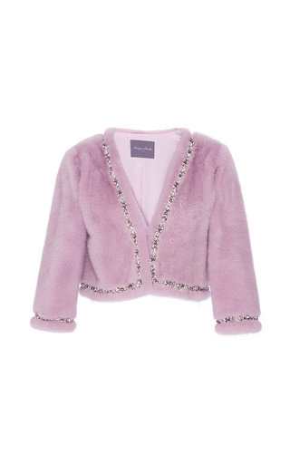 Metallic Mink Jacket With Beaded Trim by MONIQUE LHUILLIER for Preorder on Moda Operandi