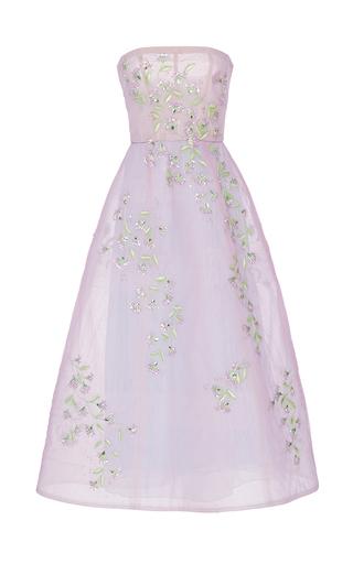 Medium monique lhuillier purple floral embroidered strapless gown