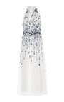 High Neck Gown With Floral Embroidery by MONIQUE LHUILLIER for Preorder on Moda Operandi