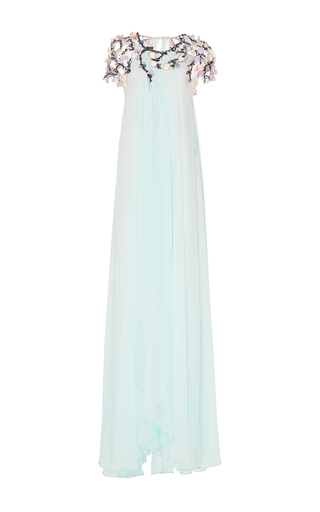 Embroidered Gown With Floral Detailing by MONIQUE LHUILLIER for Preorder on Moda Operandi