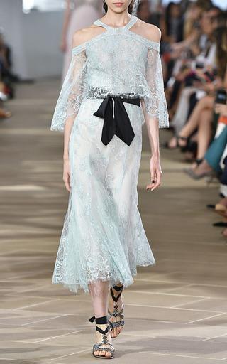 Metallic Chantilly Lace Midi Dress by MONIQUE LHUILLIER for Preorder on Moda Operandi