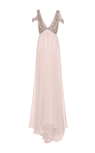 Embroidered Gown With Embellished Neckline by MONIQUE LHUILLIER for Preorder on Moda Operandi